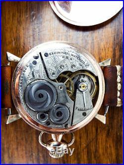 Antique Elgin Pocket Watch Converted Wrist Watch Gold Filled 10K Wadsworth Case