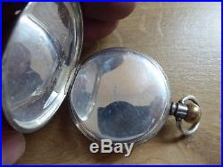 Antique Gents Silver Open Face Top Wind Pocket Watch Dennison Case Ald