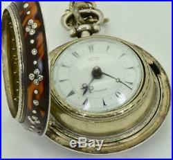 Antique Georgian triple case Edward Prior Verge Fusee watch for Ottoman market