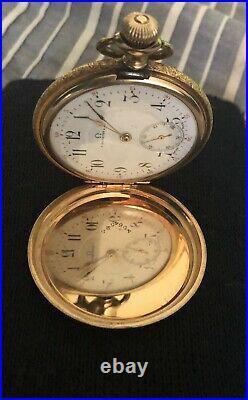 Antique Gold 14K GOLD OMEGA MENS POCKET WATCH. NICE CASE. 74 GRAMS
