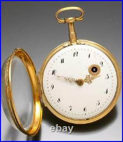 Antique Gold Verge Fusee Pocket Watch Ca1800 18k Repousse Swing Out Case