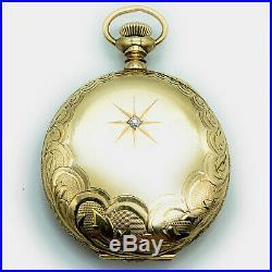 Antique Ladie's Waltham 14K Yellow Gold Hunter Case with diamond Pocket Watch