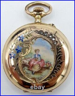 Antique Ladies Ornate Enamel 18k Gold Hunting Case Pocket Watch 0 Size Pin Set