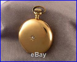 Antique Lady Waltham Pocket Watch 14K Yellow Gold & Diamond Hunting Case mono'd