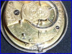 Antique Liverpool Verge Fusee Silver Case Pocket Watch Porcelain Face Key Wind