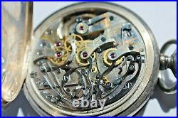Antique Longines 925 Open Face Case 17 J Pocket Watch 460724 Chrono, 95.1grams