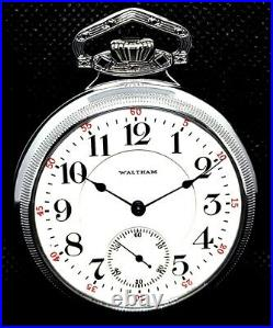 Antique Mint 19 Jewel Display Case Railroad Pocket Watch Waltham Crescent Street