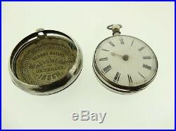 Antique Pair Cased Verge Pocket Watch Jn Hatton London Sterling Silver