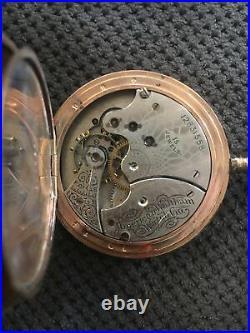 Antique Pocket Watch American Waltham 15 Jewels Hunting Case 14K 25 Yr Guarrante