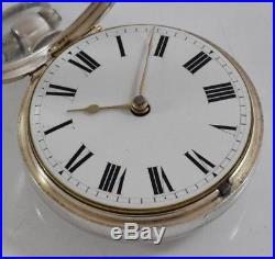Antique Silver Verge Fusee Pair Cased Pocket Watch James Brand London c. 1825
