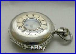 Antique Solid Silver Cased Waltham Half Hunter Riverside Pocket Watch