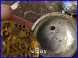 Antique Triple case Verge Fusee Repousse pocket watch