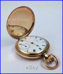 Antique Waltham Giant Gold Plate Full Hunter Case Fob Pocket Watch Working 1913