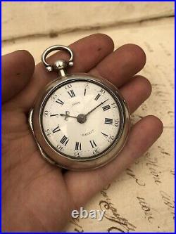 Antique Welsh 1772 Georgian Silver Verge Fusee Pair Cased Pocket Watch Working