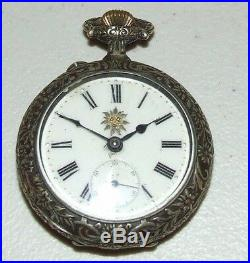 Antique Working Systeme Roskopf Swiss Pocket Watch withRock Climbing Repousse Case