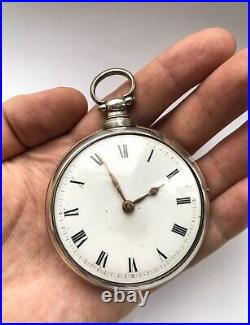 Antique georgian Verge Fusee Silver Pair Cased Pocket Watch