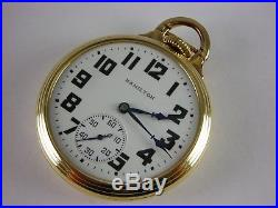 Antique original 16s Hamilton 992B Rail Road pocket watch 1942. 21j. Nice case