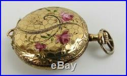 Antique plojoux geneve Swiss watch 14k case with enamel floral motif running