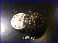 Antique verge watch. Tortoiseshell pair case. 18 century. Spindeluhr. Montre coq