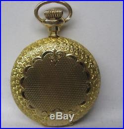 Antque Waltham 14k Solid Gold Ornate Hunter Case Pocket Watch Sharp