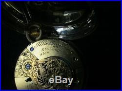 Beautiful 1829 Bullingford Verge Fusee Silver Pair Case Pocket Watch Running
