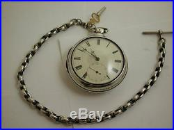 Beautiful Victorian Pair Cased Solid Silver Doctor's Pocket Watch & Albert Chain