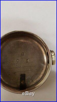 C. 1846 sterling silver pair cased verge fusee pocket watch by D. Bowen alfreton