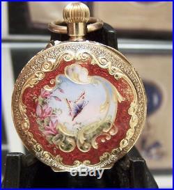 C1880-1900 Stunning Antique Solid 18k Swiss Enamelled Case Pocket Watch Lovely