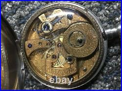 CHINESE DUPLEX POCKET WATCH 18/20 Size Coin Silver Case Gilded Movement RUNS