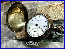Circa 1889 Waltham 18 Sz. Gold Filled Hunter Case Lever Set Pocket Watch 141.8 g