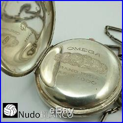 Collectable Omega Chronograph Chronometre Pocket Watch Silver Hunter Case 55mm