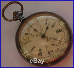 Dypsa Chronograph Pocket Watch Open Face Gun Case 52 mm. In diameter