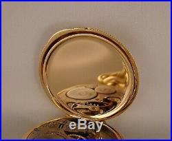 ELGIN 17j 14k MULTICOLOR SOLID GOLD HUNTER CASE FANCY DIAL 16sGREAT POCKET WATCH