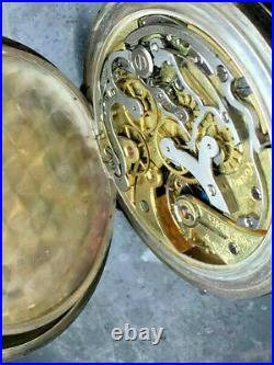 Early Omega pocket chronograph 1890 in a 0,900 silver case manufactory caliber
