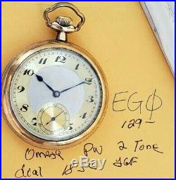 Eg0 Omega Mens 18 Size Pocket Watch 2 Tone Dial Yellow Gold Fill Case Runs Stops