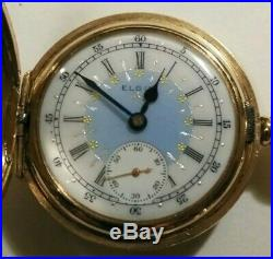 Elgin 0 size 7 jewels mint fancy dial (1906) nice 14K. Gold filled hunter case