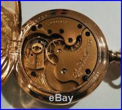 Elgin 0S. 11 jewel mint fancy dial multi-color 14K double hunter case restored