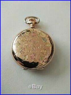Elgin 0S. 15 jewel mint fancy dial (1910) 14K. Multi-color Diamond Hunter Case