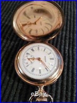 Elgin 0s. Great fancy dial 7 jewels gold filled Hunter case restored