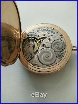 Elgin 12S. (1912) 17 jewels Masonic dial pocket watch 14K Gold Filled Hunter case