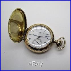 Elgin 14k Gold Filled Multi-Color Hunter Pocket Watch 6 Size 35mm Case RUNS