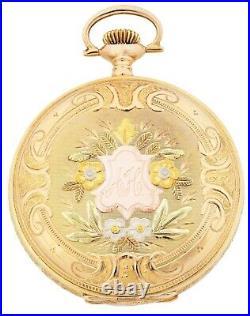 Elgin 14k Solid Gold Case Multicolor Pocket Watch Sirca 1921
