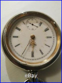 Elgin 18 size 17 jewels (1910) fancy dial pocket watch nickel case