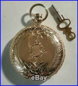 Elgin (1873) 10 size 7 jewels Dexter St. Key wind nice gold eagle hunter case
