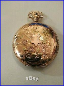 Elgin (1910) 15 jewels fancy dial 14K. Multi-color gold filled hunter case