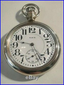 Elgin (1921) 16S. B. W. Raymond adj. 19 jewels railroad watch nickel case