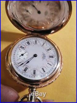 Elgin 6S. 15 jewels fancy dial Super 14K. Gold Filled Diamond Enameled Case