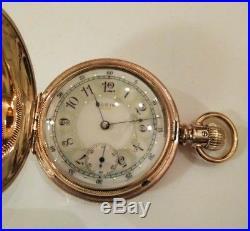 Elgin 6S. (1890) 7 jewel fancy dial 14K Double hunter case restored