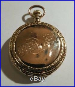 Elgin 6S. (1898) 15 jewel fancy dial 14K Double hunter case restored