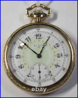 Elgin Fancy Dial 16s 15j 10k Gold Filled MINT case